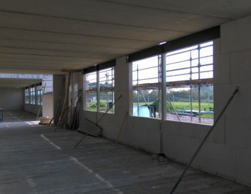 Erection of the walls of the new Spinder building in Drachten.